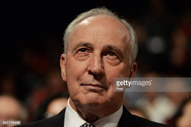 Former prime minister Paul Keating waits for Leader of the Opposition Bill Shorten at the Labor campaign launch at the Joan Sutherland Performing...