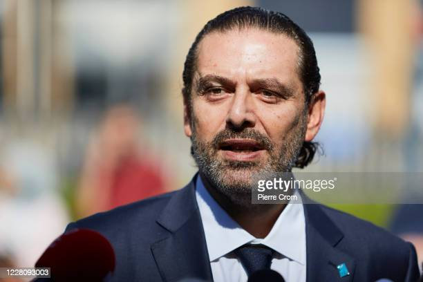 Former Prime Minister Saad Hariri gives a statement to the press outside the Lebanon Tribunal on August 18, 2020 in The Hague, Netherlands. The...
