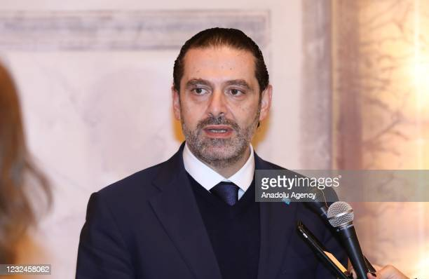 Former Prime Minister Saad Hariri, tasked with forming the new government in Lebanon, speaks to press members after his meeting with Pope Francis in...