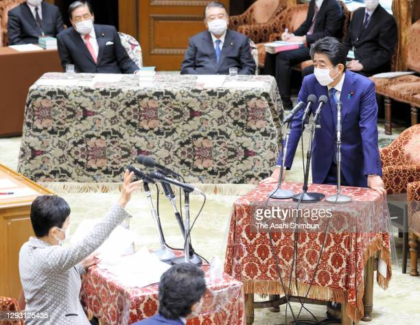 Former Prime Minister Shinzo Abe attends the Lower House Rules and Administration Committee for damaging the trust of the Diet by making responses...
