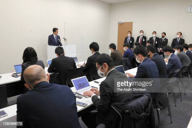 Former Prime Minister Shinzo Abe speaks during a press conference after his aide Hiroyuki Haikawa was given a summary indictment on December 24, 2020...