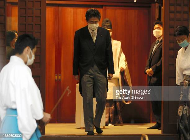 Former Prime Minister Shinzo Abe visits Yasukuni Shrine on the 76th anniversary of the WWII surrender on August 15, 2021 in Tokyo, Japan.