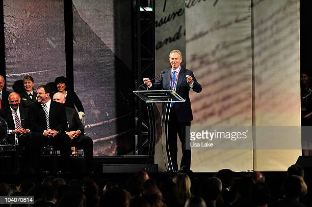 Former Prime Minister Tony Blair addresses the audience after receiving the 2010 Liberty Medal at the National Constitution Center September 13, 2010...