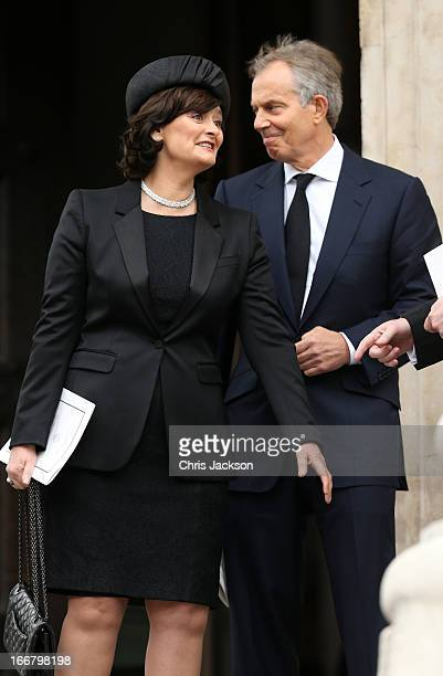 Former Prime Minister Tony Blair and his wife Cherie Blair leave the Ceremonial funeral of former British Prime Minister Baroness Thatcher at St...