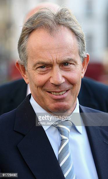 Former Prime Minister Tony Blair arrives at the wedding of Charles Dunstone and Celia Gordon Shute at Christ Church Spitalfields on October 10, 2009...