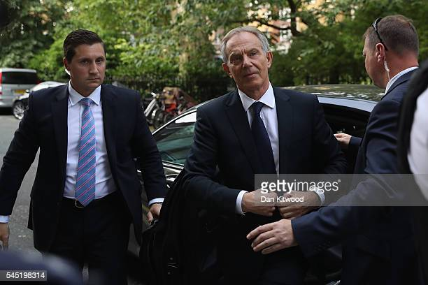 Former Prime Minister Tony Blair arrives back at his home after a press conference following the outcome of the Iraq Inquiry report on July 6 2016 in...