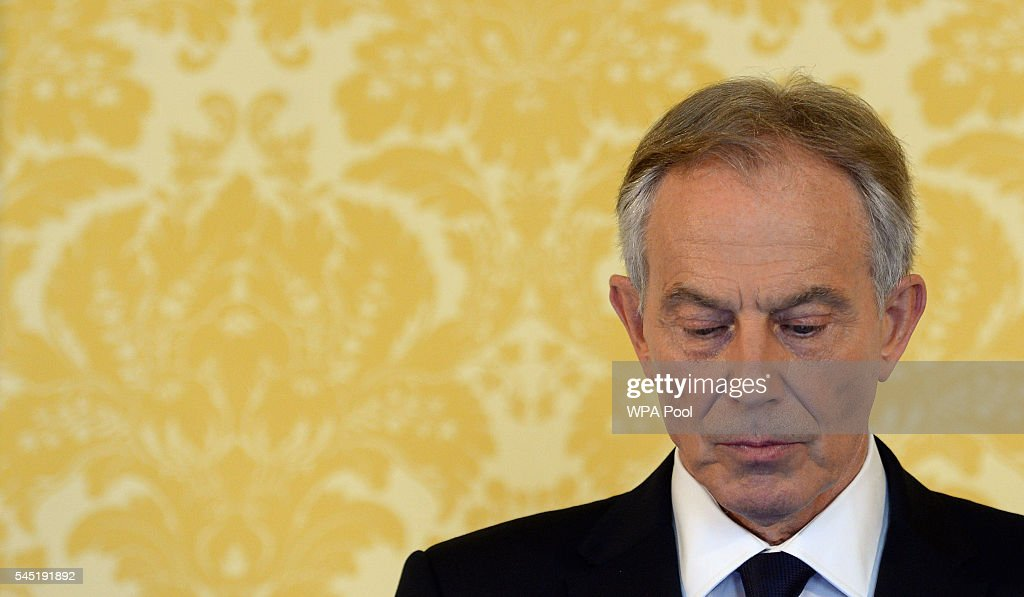 Former Prime Minister, Tony Blair arrives for a press conference at Admiralty House, where responding to the Chilcot report he said: 'I express more sorrow, regret and apology than you may ever know or can believe on July 6, 2016. in London, United Kingdom. The Iraq Inquiry Report into the UK government's involvement in the 2003 Iraq War under the leadership of Tony Blair was published today. The inquiry, which concluded in February 2011, was announced by then Prime Minister Gordon Brown in 2009 and is published more than seven years later. Mr Blair said that the report contained 'serious criticisms' but showed that 'there were no lies, Parliament and the Cabinet were not misled, there was no secret commitment to war, intelligence was not falsified and the decision was made in good faith'.