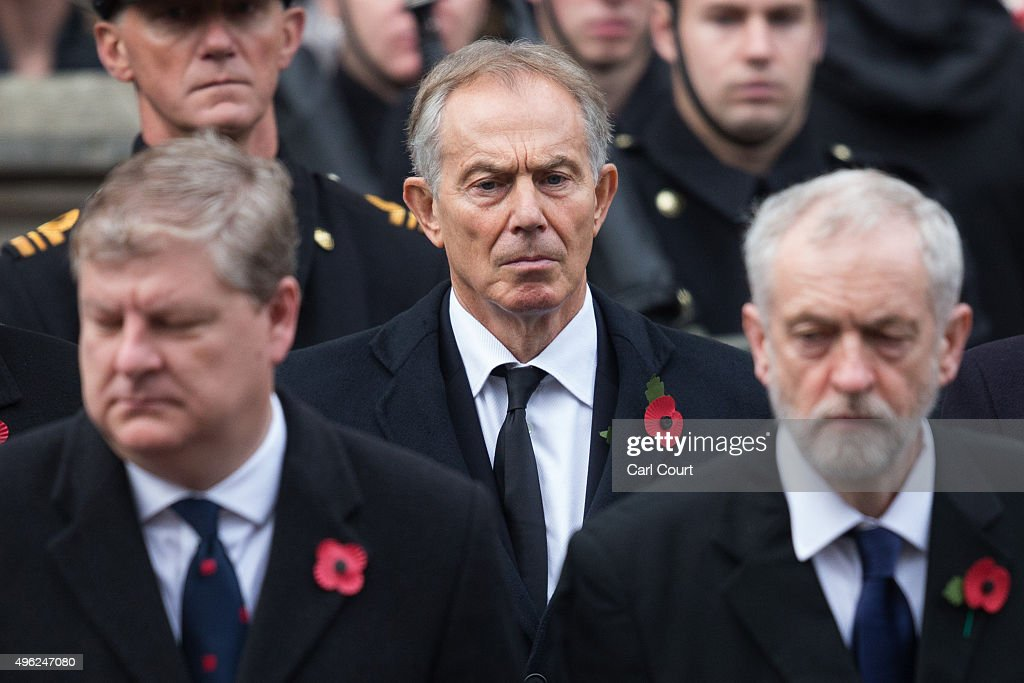 Former Prime Minister Tony Blair attends the annual Remembrance Sunday Service at the Cenotaph on Whitehall on November 8, 2015 in London, United Kingdom. People across the UK gather to pay tribute to service personnel who have died in the two World Wars and subsequent conflicts.