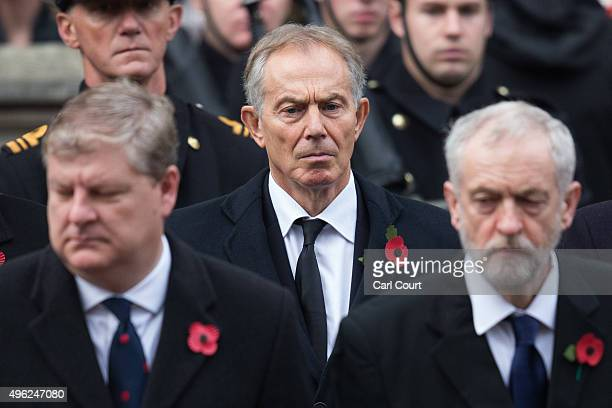 Former Prime Minister Tony Blair attends the annual Remembrance Sunday Service at the Cenotaph on Whitehall on November 8 2015 in London United...