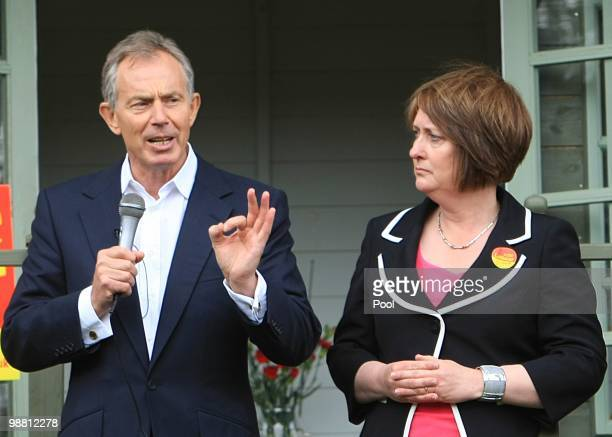 Former Prime Minister Tony Blair campaigns with former Home Secretary Jacqui Smith in her Redditch constituency on May 3 2010 in Redditch United...