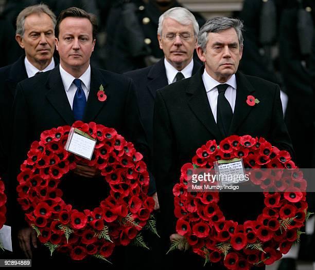 Former Prime Minister Tony Blair, Conservative Party Leader David Cameron MP, Former Prime Minister John Major and Prime Minister Gordon Brown attend...