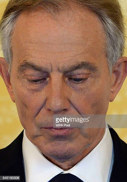 Former Prime Minister Tony Blair during a press conference at Admiralty House where responding to the Chilcot report he said 'I express more sorrow...