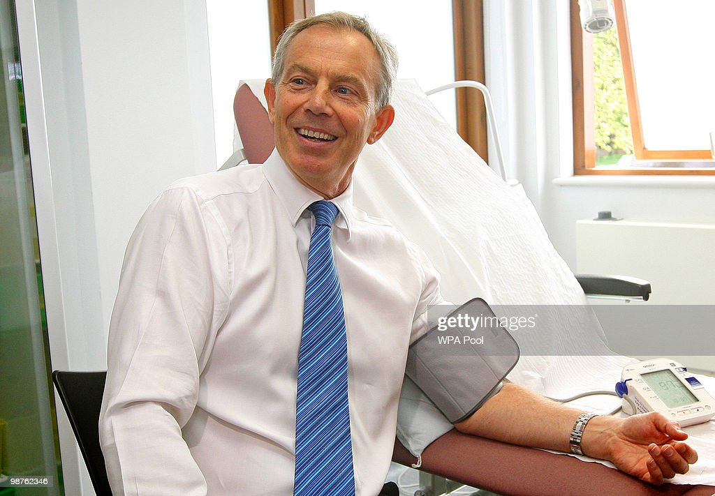 Former Prime Minister Tony Blair has his blood pressure taken by Nurse Paula Martin (not pictured) during a visit to Alexandra Avenue Health and Social Care Centre in Harrow as he returned to the Labour campaign trail on April 30, 2010 in London, England. The General Election, to be held on May 6, 2010, is set to be one of the most closely fought political contests in recent times with all main party leaders embarking on a four week campaign to win the votes of the United Kingdom electorate.