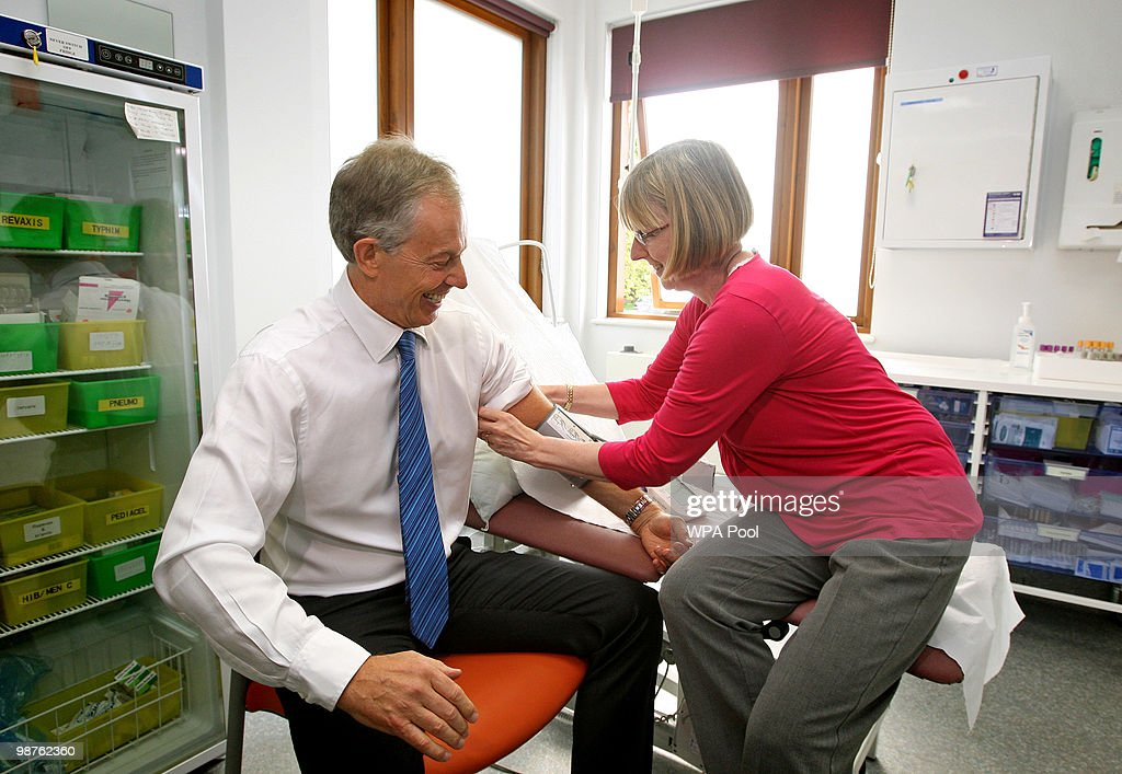 Former Prime Minister Tony Blair has his blood pressure taken by Nurse Paula Martin during a visit to Alexandra Avenue Health and Social Care Centre in Harrow as he returned to the Labour campaign trail on April 30, 2010 in London, England. The General Election, to be held on May 6, 2010, is set to be one of the most closely fought political contests in recent times with all main party leaders embarking on a four week campaign to win the votes of the United Kingdom electorate.