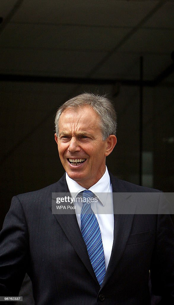 Former Prime Minister Tony Blair leaves Alexandra Avenue Health and Social Care Centre in Harrow after a visit as he returned to the Labour campaign trail on April 30, 2010 in London, England. The General Election, to be held on May 6, 2010, is set to be one of the most closely fought political contests in recent times with all main party leaders embarking on a four week campaign to win the votes of the United Kingdom electorate.