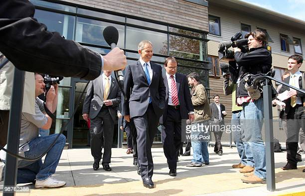 Former Prime Minister Tony Blair leaves Alexandra Avenue Health and Social Care Centre in Harrow after a visit as he returned to the Labour campaign...