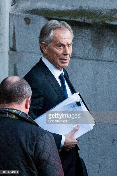 Former Prime Minister Tony Blair leaves the Houses of Parliament on January 13 2015 in London England Mr Blair gave evidence to the Westminster...