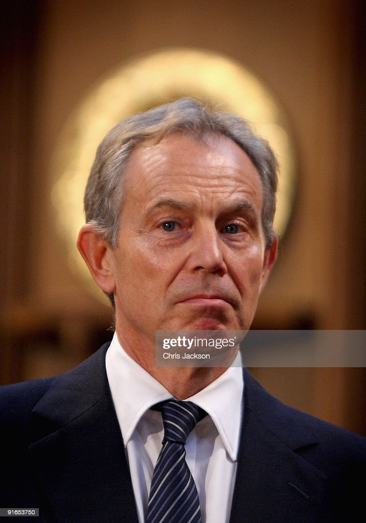 Former Prime Minister Tony Blair looks on during a reception at London Guildhall after a Service of Commemoration to mark the end of combat operations in Iraq on October 9, 2009 in London, England. The commemoration was attended by veterans and the relatives of the 179 who died during the conflict which officially ended on April 30.