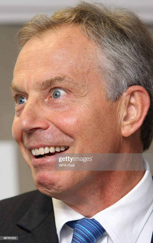 Former Prime Minister Tony Blair reacts during a visit to Alexandra Avenue Health and Social Care Centre in Harrow as he returned to the Labour campaign trail on April 30, 2010 in London, England. The General Election, to be held on May 6, 2010, is set to be one of the most closely fought political contests in recent times with all main party leaders embarking on a four week campaign to win the votes of the United Kingdom electorate.