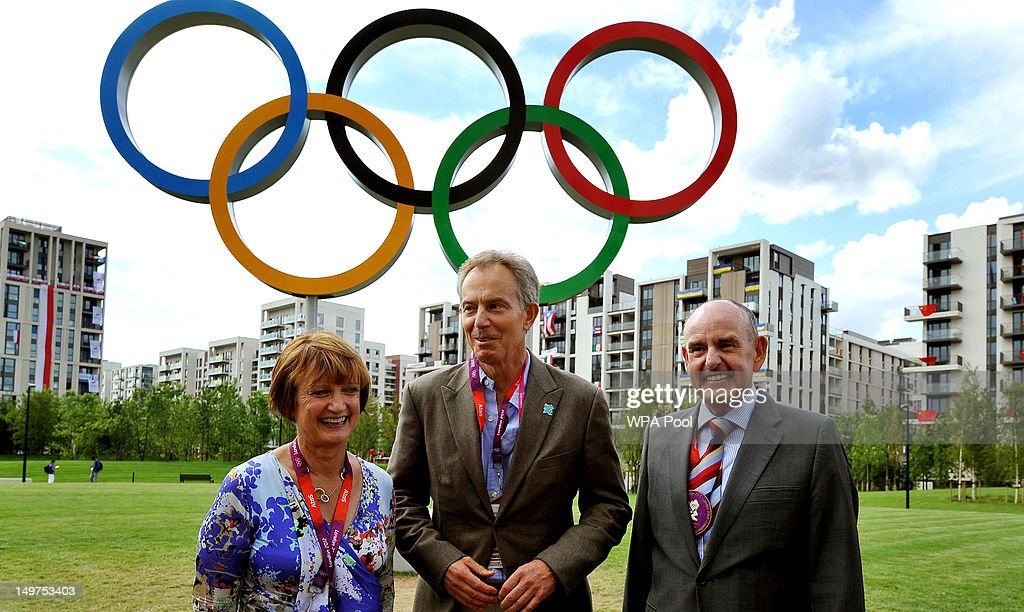 Former Prime Minister Tony Blair, shadow Olympics minister Tessa Jowell and Sir Charles Allen, the Mayor of the Olympic Athletes village, tour the facilities for the World's top athletes during the London 2012 Olympic games , in Stratford on August 03, 2012 in London, England.