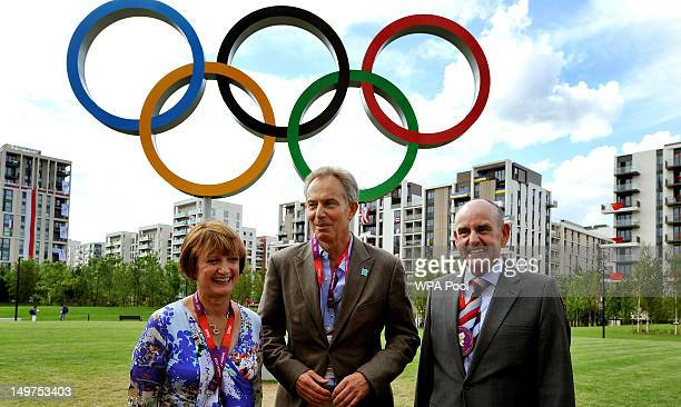 Former Prime Minister Tony Blair shadow Olympics minister Tessa Jowell and Sir Charles Allen the Mayor of the Olympic Athletes village tour the...