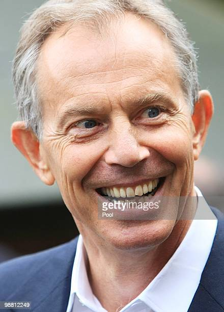 Former Prime Minister Tony Blair smiles whilst out campaigning with former Home Secretary Jacqui Smith in her Redditch constituency on May 3 2010 in...
