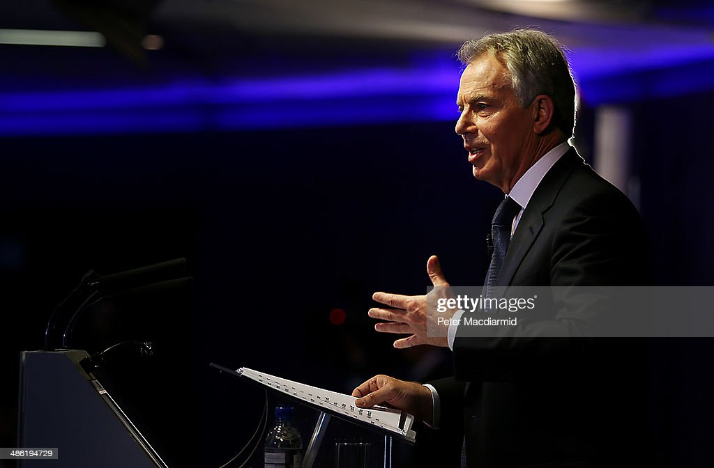 Former Prime Minister Tony Blair speaks at Bloomberg on April 23, 2014 in London, England. In his speech to financial workers Mr Blair warned of the need for the west to focus on the threat of Islamic extremism.