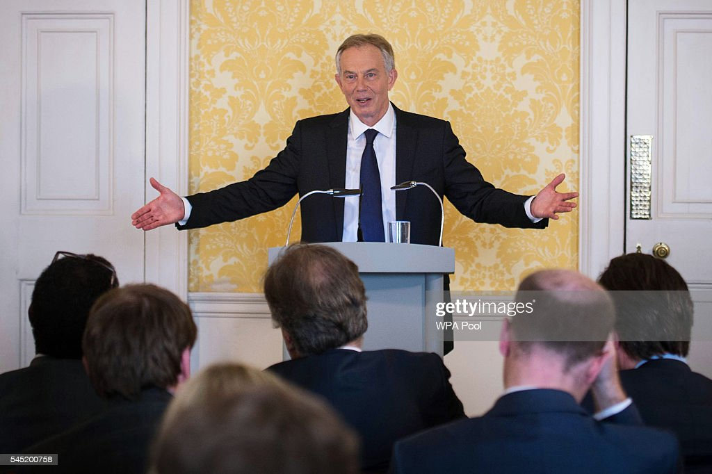 Former Prime Minister, Tony Blair speaks during a press conference at Admiralty House, where responding to the Chilcot report he said: 'I express more sorrow, regret and apology than you may ever know or can believe on July 6, 2016. in London, United Kingdom. The Iraq Inquiry Report into the UK government's involvement in the 2003 Iraq War under the leadership of Tony Blair was published today. The inquiry, which concluded in February 2011, was announced by then Prime Minister Gordon Brown in 2009 and is published more than seven years later. Mr Blair said that the report contained 'serious criticisms' but showed that 'there were no lies, Parliament and the Cabinet were not misled, there was no secret commitment to war, intelligence was not falsified and the decision was made in good faith'.