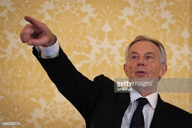 Former Prime Minister Tony Blair speaks during a press conference at Admiralty House where responding to the Chilcot report he said I express more...