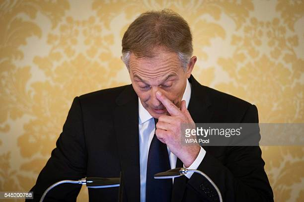 Former Prime Minister Tony Blair speaks during a press conference at Admiralty House where responding to the Chilcot report he said 'I express more...