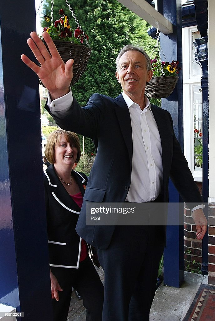 Former Prime Minister Tony Blair waves whilst out campaigning with former Home Secretary Jacqui Smith in her Redditch constituency on May 3, 2010 in Redditch, United Kingdom. The General Election, to be held on May 6, 2010 is set to be one of the most closely fought political contests in recent times with all main party leaders embarking on a four week campaign to win the votes of the United Kingdom.