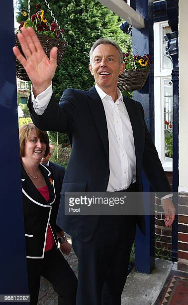 Former Prime Minister Tony Blair waves whilst out campaigning with former Home Secretary Jacqui Smith in her Redditch constituency on May 3 2010 in...