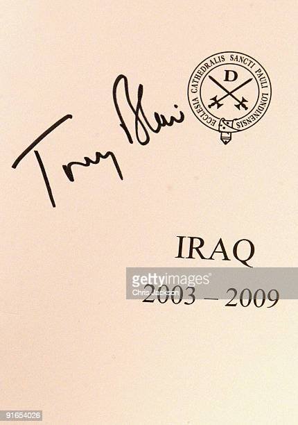 Former Prime Minister Tony Blair's signature adorns a program he signed for an Iraq veteran during a reception at London Guildhall after a Service of...