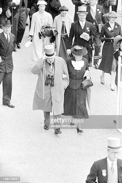 Former Prime Minister Winston Churchill and his wife Clementine Churchill at Ascot 20th June 1956 Original Publication Picture Post 8531 The Queen's...
