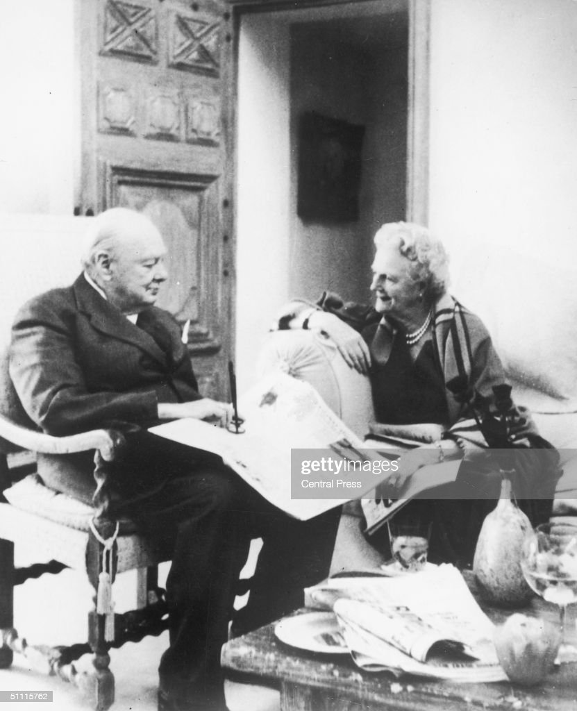 Former prime minister Winston Churchill (1874 - 1965) and his wife Clementine (1885 - 1977) celebrate their Golden Wedding anniversary in France, 12th September 1958.