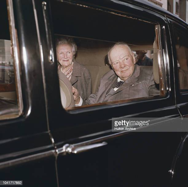 Former Prime Minister Winston Churchill leaves Chartwell his home in Kent with his wife Clementine 30th July 1964