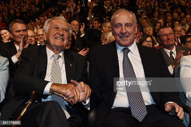 Former prime ministers Bob Hawke and Paul Keating wait for Leader of the Opposition Bill Shorten at the Labor campaign launch at the Joan Sutherland...