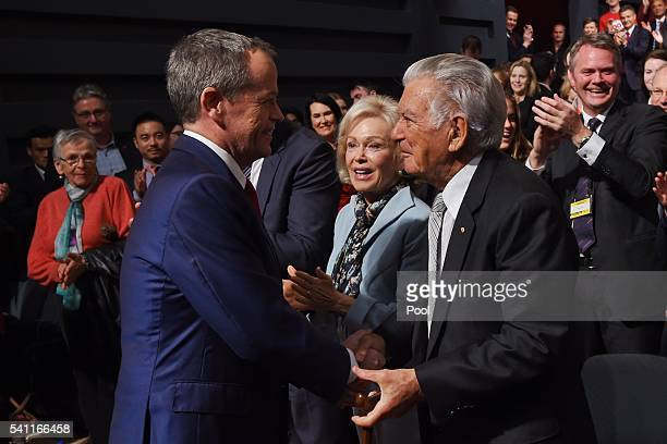 Former prime ministers Bob Hawke greets Leader of the Opposition Bill Shorten at the Labor campaign launch at the Joan Sutherland Performing Arts...