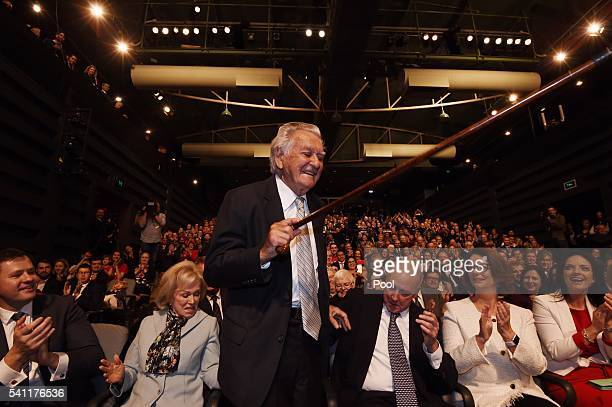 Former prime ministers Bob Hawke is introduced by the Leader of the Opposition Bill Shorten at the Labor campaign launch at the Joan Sutherland...