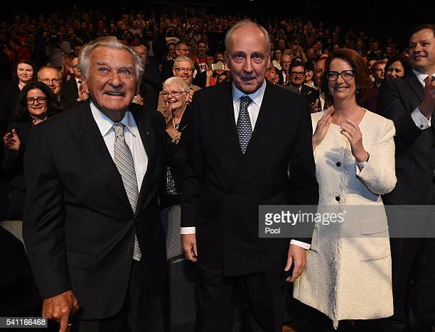 Former prime ministers Bob Hawke Paul Keating and Julia Gillard arrive to listen to Leader of the Opposition Bill Shorten at the Labor campaign...