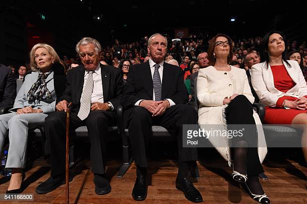 Former prime ministers Bob Hawke Paul Keating and Julia Gillard wait to listen to Leader of the Opposition Bill Shorten at the Labor campaign launch...