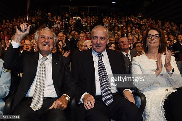 Former prime ministers Bob Hawke Paul Keating and Julia Gillard wait for Leader of the Opposition Bill Shorten at the Labor campaign launch at the...