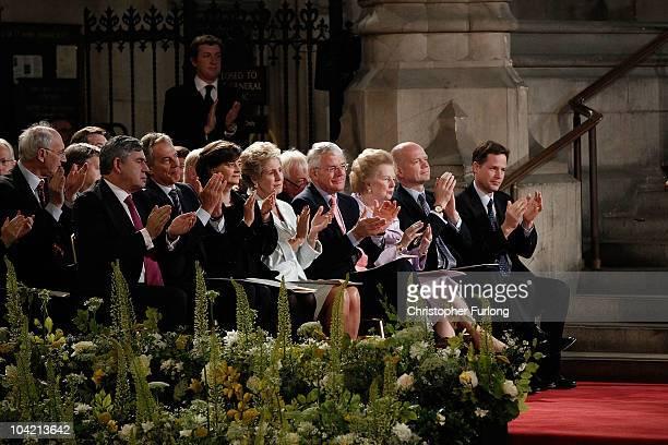 Former Prime Ministers Gordon Brown and Tony Blair Cherie Blair Norma Major John Major Baroness Thatcher Foreign Secretary William Hague and Deputy...