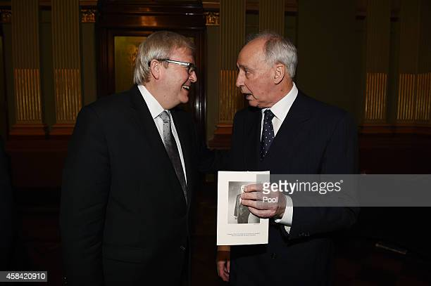 Former Prime Ministers Kevin Rudd and Paul Keating speak following the state memorial service for former Australian Prime Minister Gough Whitlam at...