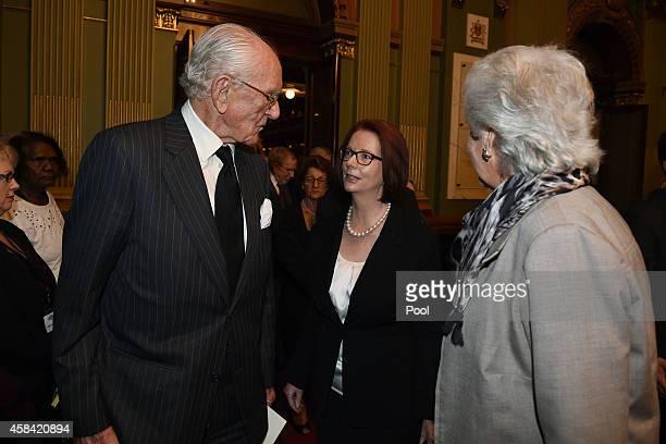 Former Prime Ministers Malcolm Fraser and Julia Gillard speak following the state memorial service for former Australian Prime Minister Gough Whitlam...