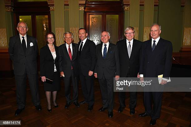 Former Prime Ministers of Australia Malcolm Fraser Julia Gillard Bob Hawke current Prime Minister Tony Abbott John Howard Kevin Rudd and Paul Keating...