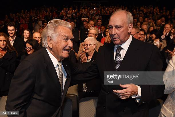Former prime ministers Paul Keating and Bob Hawke arrive to listen to Leader of the Opposition Bill Shorten at the Labor campaign launch at the Joan...