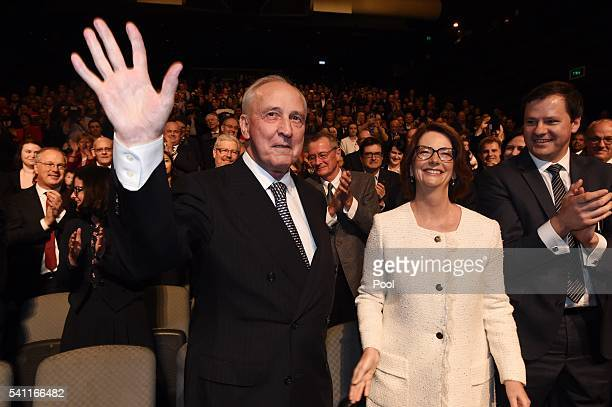 Former prime ministers Paul Keating and Julia Gillard arrive to listen to Leader of the Opposition Bill Shorten at the Labor campaign launch at the...