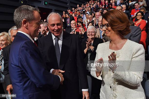 Former prime ministers Paul Keating and Julia Gillard greet Leader of the Opposition Bill Shorten at the Labor campaign launch at the Joan Sutherland...