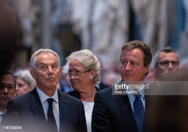 Former Prime Ministers Tony Blair and David Cameron during a memorial service for Lord Ashdown at Westminster Abbey on September 10, 2019 in London,...